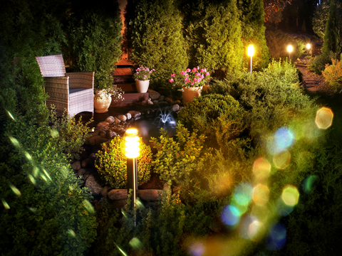 outdoor lighting garden-fountins