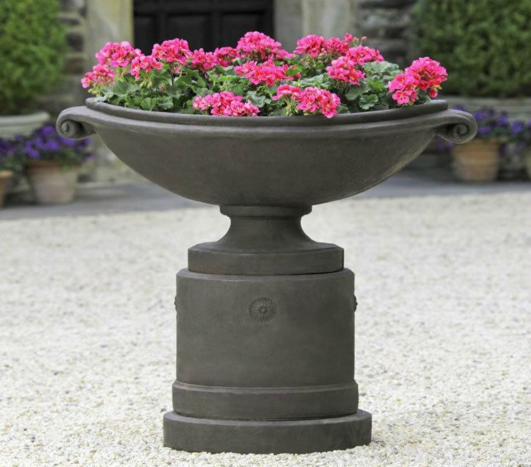 Paired planters and pedestals garden-fountains